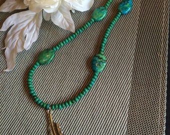 Blue Green Beaded Necklace