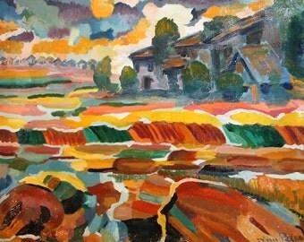 Vintage Bulgarian art landscape oil painting signed
