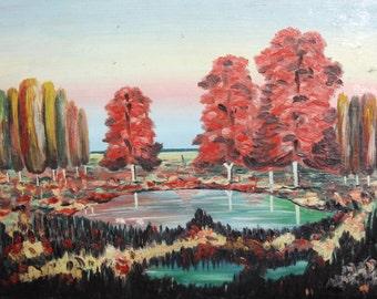 Vintage landscape expressionist art oil painting