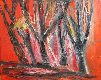 Vintage art forest landscape oil painting signed