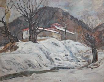 Antique European double oil painting winter landscape