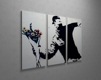 """Banksy Flower Thrower Gallery Wrapped Canvas Triptych Print 48""""x30"""""""