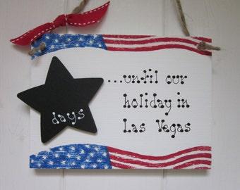 Holiday countdown sign plaque Las Vegas New York USA American flag gift chalkboard