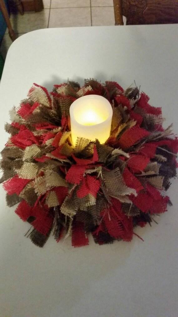 Beautiful Rustic Burlap Rag Wreath Candle Holder