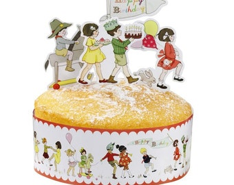 Retro Belle & Boo cake frill and card character toppers. Pack of 24. FREE P+P