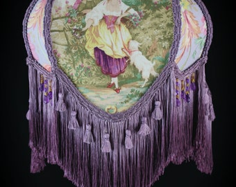 Victorian lampshade purple fragonard fabric lady with dog for Purple beaded lamp shade