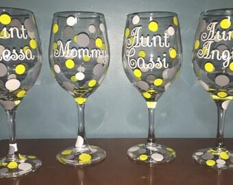 Custom polka dot wine glasses