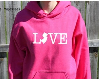 Love New Jersey Hoodie, New Jersey Sweatshirt, State, Home,