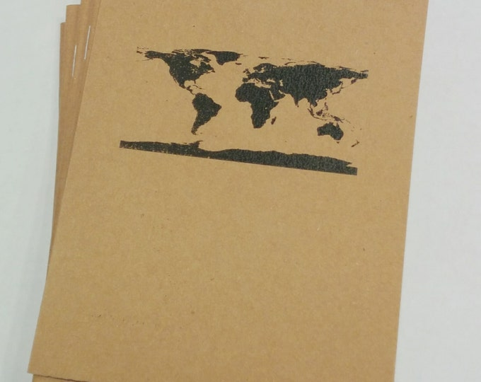 World Continents Mini Notebook - diary, journal, party favors, multipack, earth, map, globe, custom printing included
