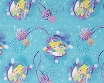 Tinkerbell Fabric Disney Tinkerbell 100% Cotton Petal Perfect Camo Turquoise