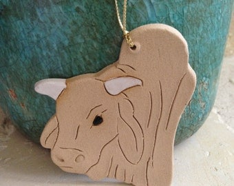 Brahma Bull Ornament Brahma bull Christmas ornament handcrafted ornament stoneware ornament rustic ornament