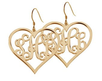 "Gold Monogram Earrings,Heart shaped Monogram Earrings,3 Initial Earrings,Personalize Earings any initial Monogram 0.6"" Earings %100 Handmade"