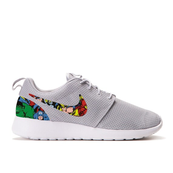 Marvel Avengers Custom Roshe Runs (Hulk, Captain America, Spiderman, Iron Man, Thor) Grey