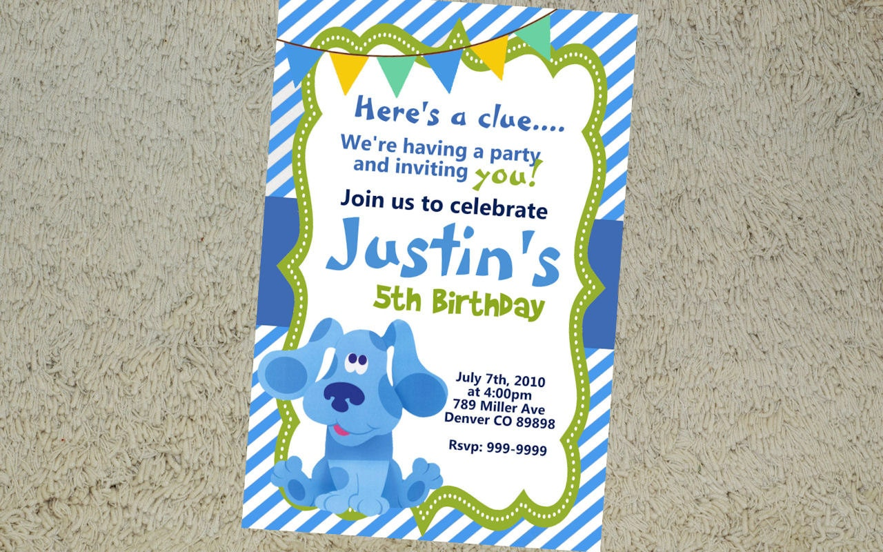 Druckbare Blues Hinweise Geburtstag Einladung Blues Clues