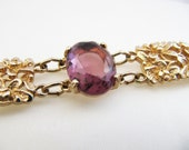 Vintage Sarah Coventry Gold Flower Amethyst Purple Bracelet Jewellery