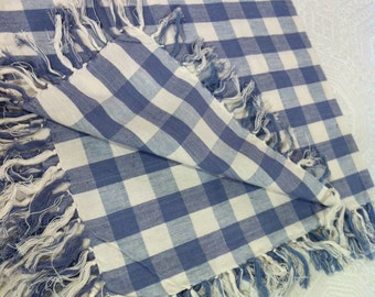 """Blue 32"""" Square Table Topper Woven Gingham Check Fringed Tablecloth"""