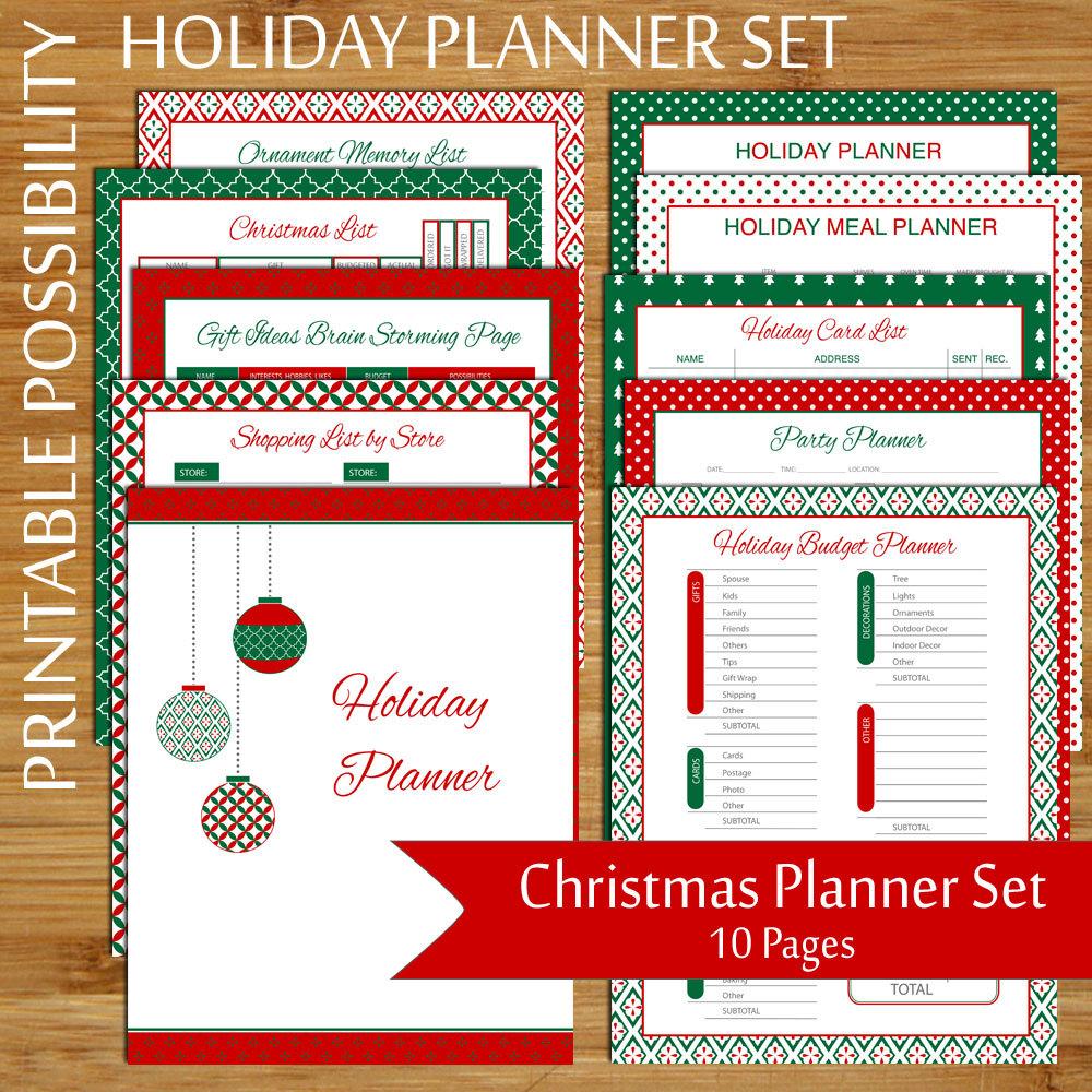 Christmas Planner Set 10-Page Printable Christmas Organizer