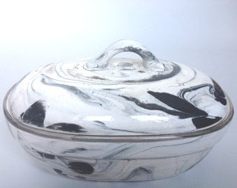 Marbleized Ceramic Oval Container/Serving Piece