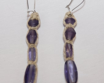 Handmade Purple Hemp Dangle Earrings
