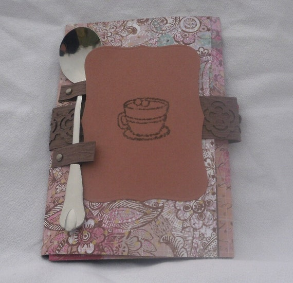 "Hot Chocolate Card - A ""Just Because"" card including a small spoon and a hot chocolate packet. In rose pink with brown paisley design."