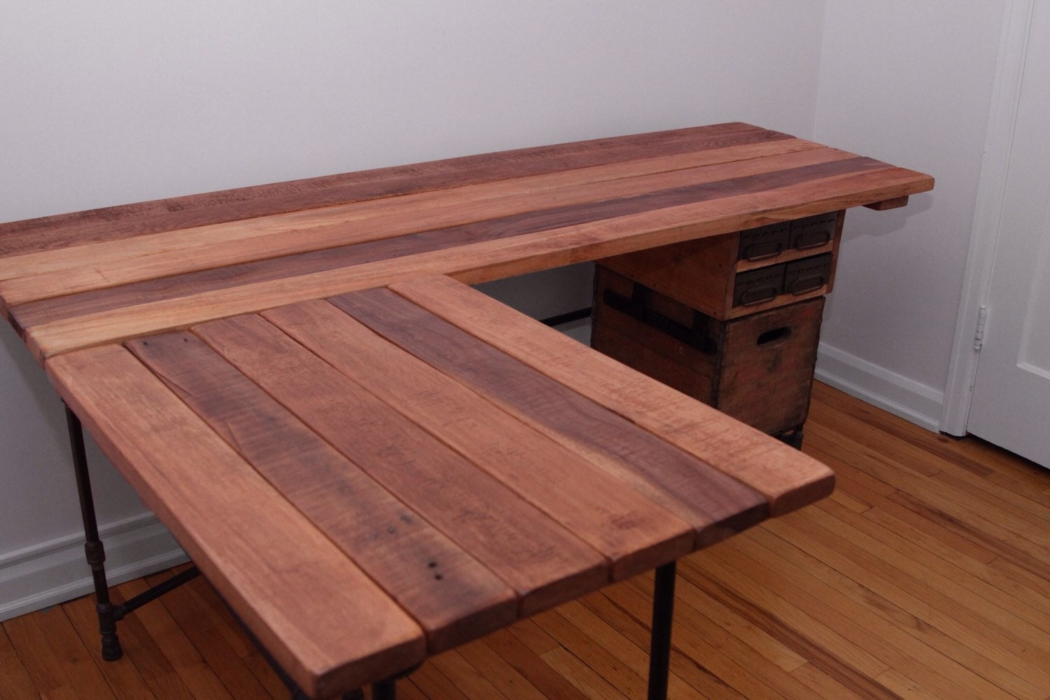The Elle Desk Reclaimed Wood L Shaped Desk Wood Office Desk
