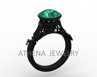 New Fashion Gorgeous and Unique 14k Black Gold Engagement, Wedding,  Anniversary Ring with Diamonds and Emeralds Item # Love-0485