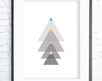 Instant Download Printable, Triangles Tree Print Art, modern art, digital art, tree art, tree print, Christmas Printable art