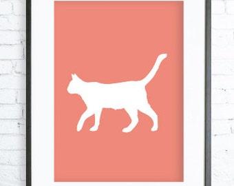 Coral Printable Cat Art Print, Cat Lovers Gift, Coral Pointer Silhouette Print, digital art, Cat print, Cat Art