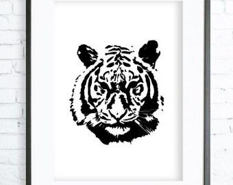 Tiger Poster ,Tiger print Art,Tiger Face, Instant Download Printable, Tiger Print Art, Tiger  Wall Decor, Tiger Art Print