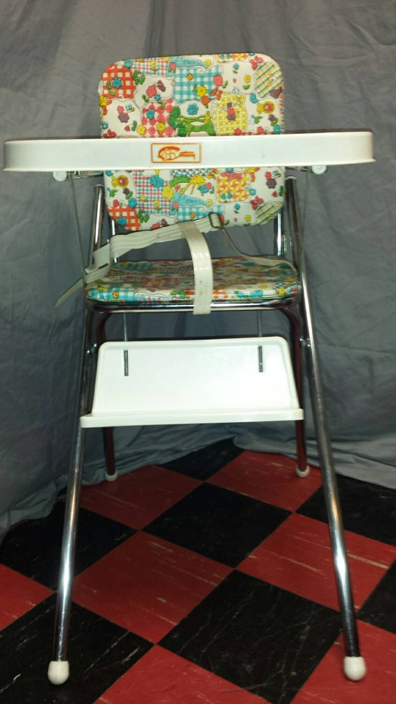 Vintage Cosco Folding High Chair Metal Chair And Plastic Tray
