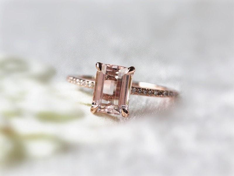 beautiful morganite rings 6x8mm emerald cut morganite by