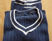 Cricket College Sweater blue V neck knitting sweater rope