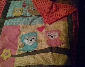 Minky Owl Baby Blanket
