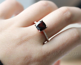 Natural Garnet Ring 14k Rose Gold Ring 8mm Cushion Cut VS Garnet Micro Pave Diamond Engagement Ring Wedding Ring Gemstone Ring