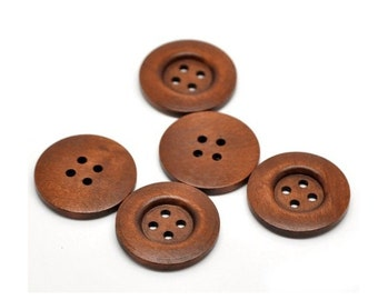 20 Vintage Stained Wood Buttons, Extra Large Wooden Buttons, 1&3/8 Inch