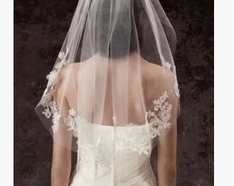 Beautiful wedding lace veil Bridal veil white beaded veil short veil 1 tier romantic crystal bead ivory veil
