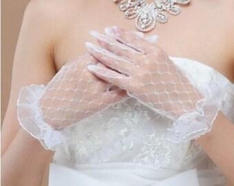 Lace  bridal gloves white bridal gloves lace wedding gloves ivory white