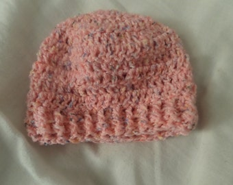 Wool light Pink Crochet Hat