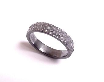 APOPHIS ring , 5mm black wedding ring , Mens wedding ring , inspired by asteroid