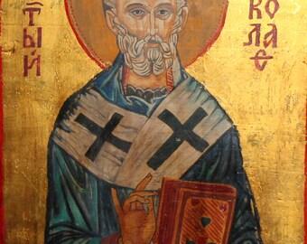 Hand Painted Tempera/Wood Orthodox Icon Saint Nicholas