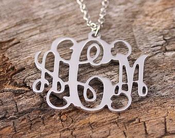 Personalized Monogram Necklace - Initila Monogarm Necklace - 3 Initials Name Pendant