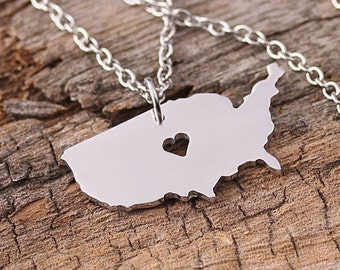 I heart America Necklace - AmericaPendant - America Map Charm - United States Map necklace - Map Jewelry