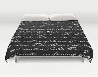 Black and white handwriting poem duvet cover. Black and white bedding Typography duvet cover Black and white duvet cover black duvet white