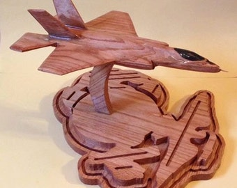 F-35 4D with large USMC/Anchor Base Coin Holder with other Fully Customizable Bases Available