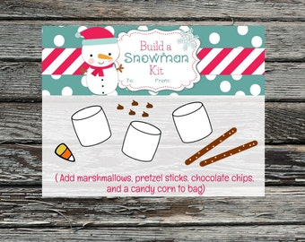 Build a Snowman Kit Treat Bag Toppers