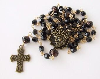 Catholic Rosary Beads - Men's Rosary - Unbreakable Five Decade Rosary - Black Rosary Necklace - Antique Bronze Rosary - Catholic Gift