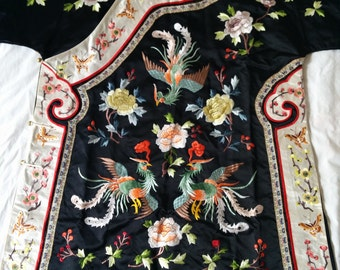 Vintage Black Chinese hand embroidered Phoenix Peony Butterfly silk robe Asian embroidery jacket costume