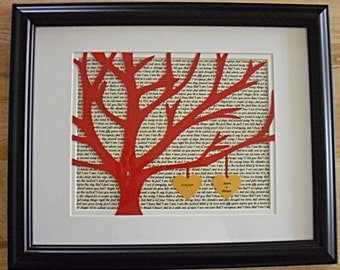 Personalized 11X14 Framed 3D Paper Tree Wedding Gift, Anniversary, Wedding Song Lyrics