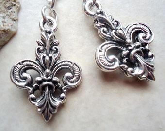 Fleur De Lis Dangle Earrings.Metal Earrings.Silver.Gold.Drop Earrings.Paris.Modern.Delicate.Dainty.Bridal. Handmade.