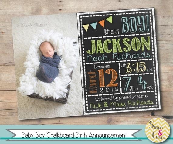 Baby boy birth announcement Printable chalkboard baby – Baby Announcement Card Templates
